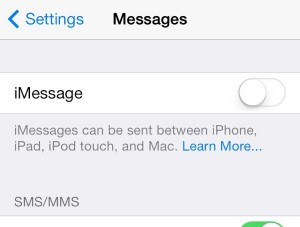 iOS iMessage settings