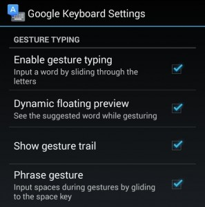 Android Gesture Typing settings