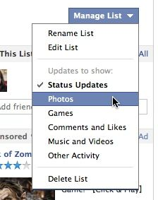 Facebook friend list settings