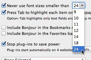 Mac Safari minimum font size setting