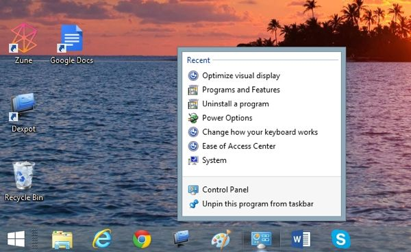 Right click Windows taskbar buttons for Jump Lists Windows tip: Right click a taskbar button for a time saving jump list