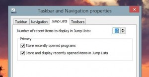 Windows Jump List settings