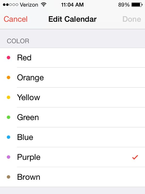 iOS 7 Calendar color settings
