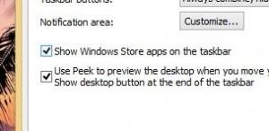 Windows 8 taskbar settings