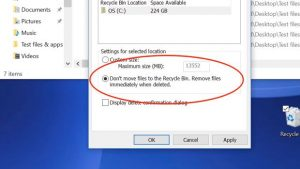 Windows Recycle Bin delete files immediately setting