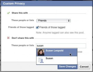 Facebook friend list privacy settings