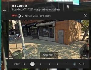 Street view timeline slider