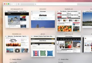 OS X Yosemite Safari tabs view