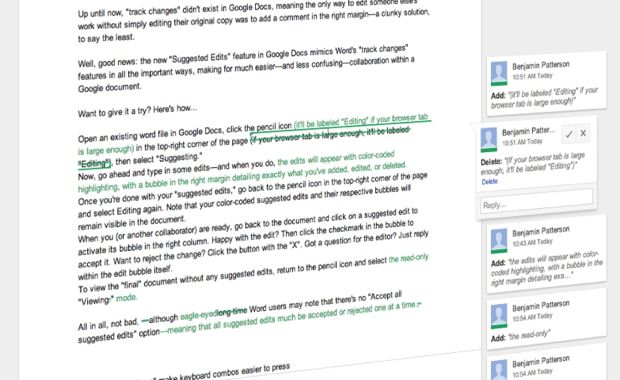 Google Docs tip: Track changes with new