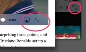 iPad web video expand button