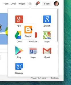Drag and drop Google app launcher icons