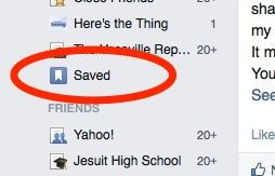 Facebook Saved section