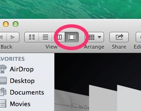 Mac Finder window Cover Flow button