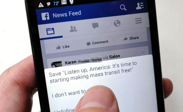 Facebook tip: Good article in your news feed? Save it for later