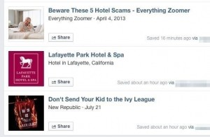 Saved articles and locations in Facebook