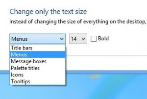Windows 8 text size settings
