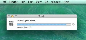 Mac emptying the trash progress bar