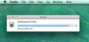 Mac emptying the trash progress bar