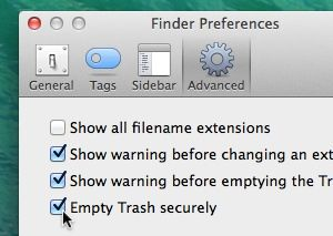 Mac secure erase trash settings