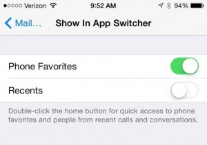 iOS 8 Show in App Switcher settings