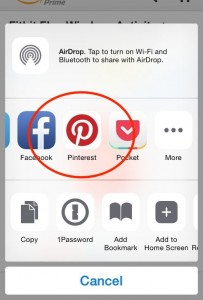 iOS 8 Share buttons with Pinterest Pin It