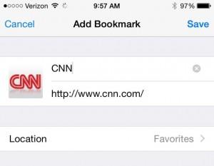 Add a favorite to Safari in iOS 8