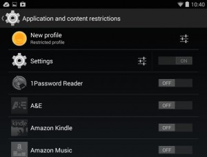 Android application and content restrictions
