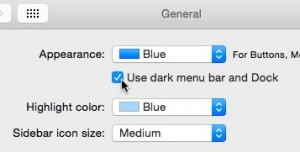 Mac OS X Yosemite dark mode setting