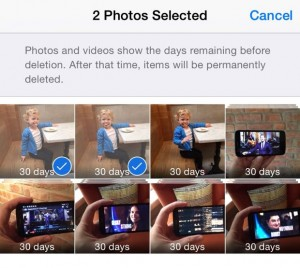 iOS 8.1 selecting photos to undelete