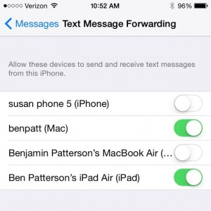 SMS Relay iPhone settings