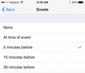 iOS Calendar default alert settings