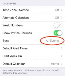 iOS Calendar Sync setting