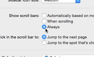 Mac scroll bar preferences