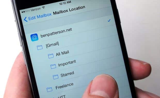 Picking a location for new iOS email folder