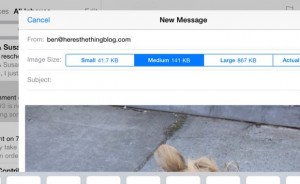 Size choices before emailing an iPad photo