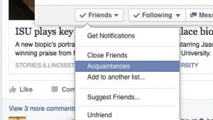 Add Facebook friend to Acquaintances list