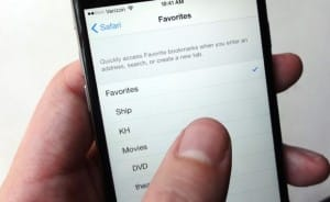 safari favorites - Pick a new Favorites folder in iOS
