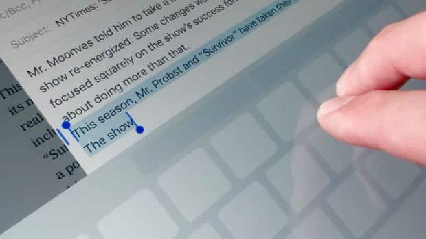 select text - iOS 9 tip: Select text on your iPad with two fingertips
