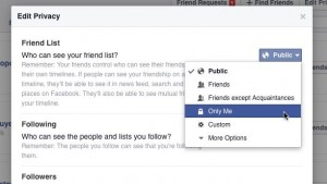 facebook friends - Facebook Friends list privacy setting