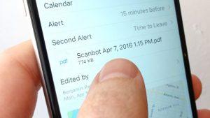 calendar event - Calendar attachment on an iPhone