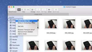 Mac folder open a sidebar item as a new tab
