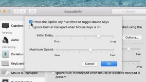 Mac Mouse Keys toggle with Option key setting
