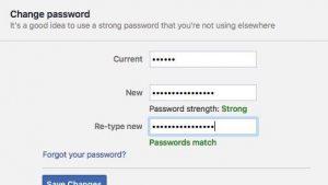Facebook change password