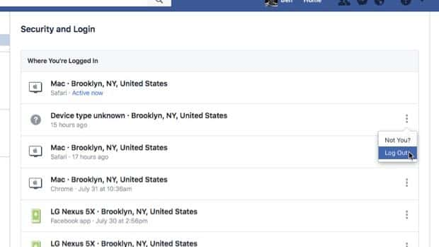 Facebook security log out of session