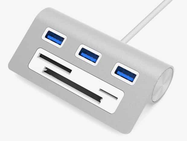 This sleek $13 USB hub doubles as a memory card reader