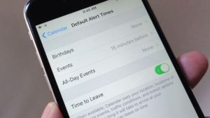 iOS Calendar default alert times