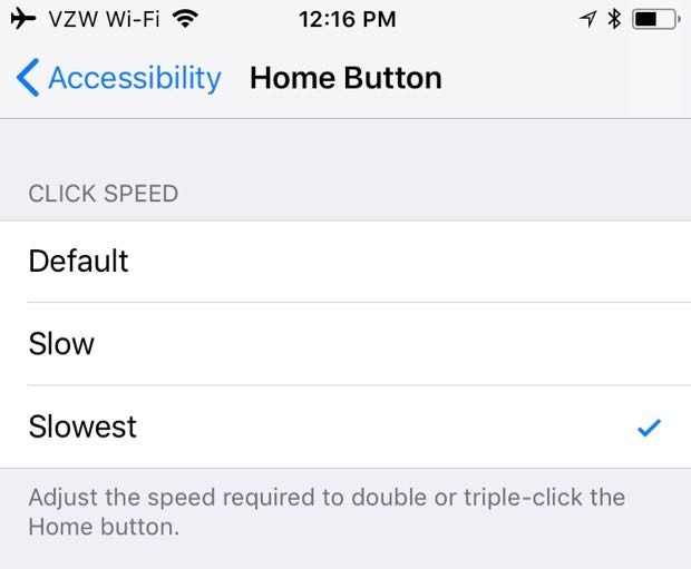 iPhone Home button change double-click speed